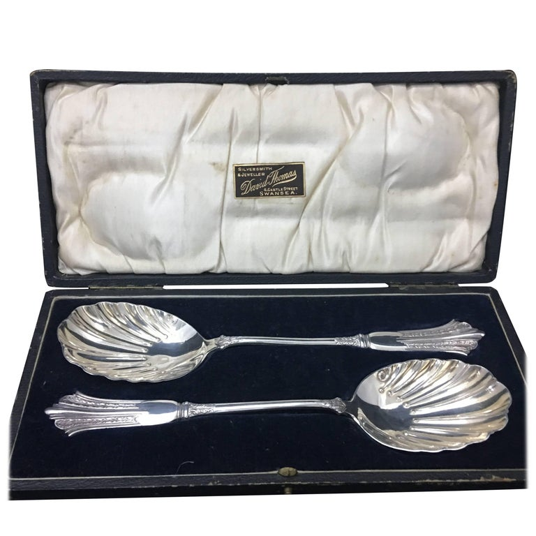 Pair of Victorian Silver Plate Spoons in a Box England, circa 1870 For Sale