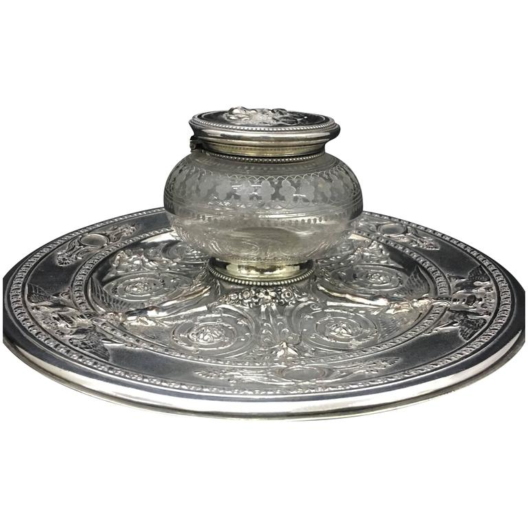 English Silver Plated Inkwell by T. Elkington, circa 1870 For Sale