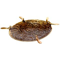 Handmade Cast Brass Dish Candle Holder with Five Birds