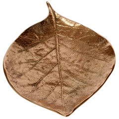 Decorative Handmade Cast Bronze Leaf Also Used as a Candleholder