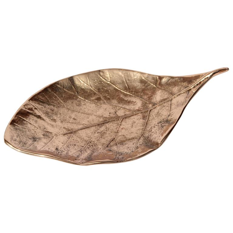 Decorative Handmade Cast Bronze Leaf Also Used as Candleholder