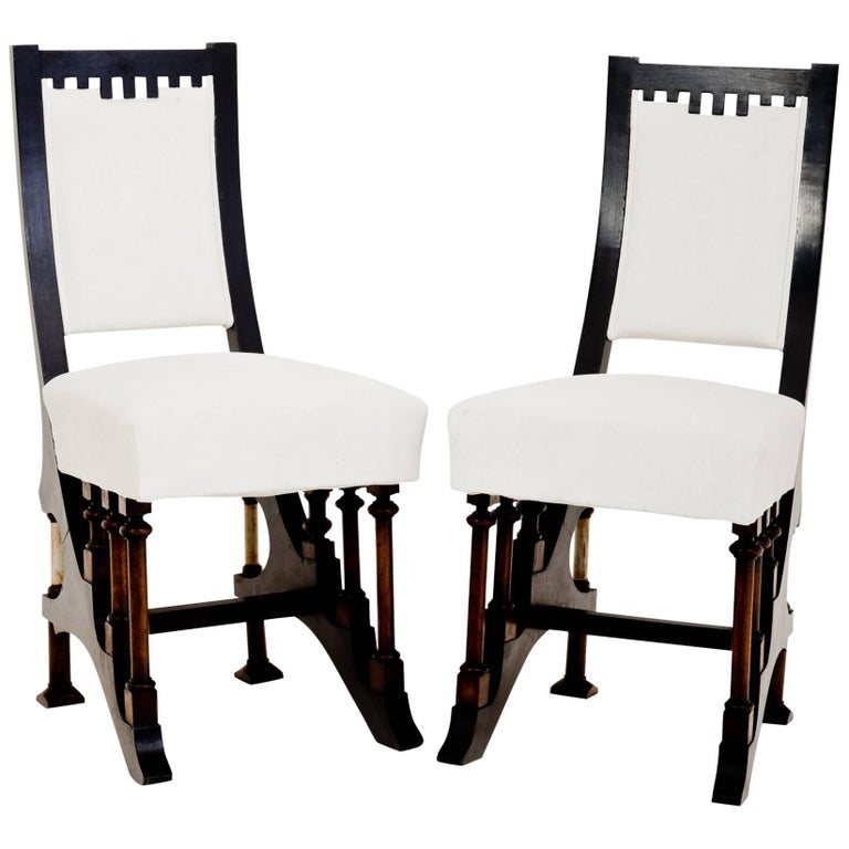 Art Nouveau Chairs in Carlo Bugatti Style, Italy, First Half of the 20th Century For Sale