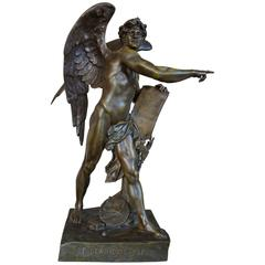 Stunning & Mint Bronze Sculpture the Genius of the Future by Emile Louis Picault