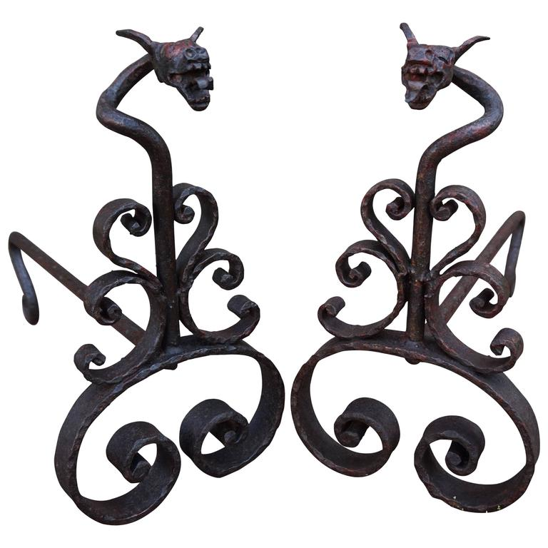 Antique Hand Forged Wrought Iron Dragon Andirons Or Firedogs