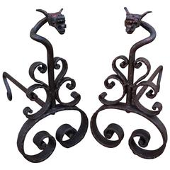 Antique and Forged in Fire Wrought Iron Dragon Andirons or Fireplace Firedogs