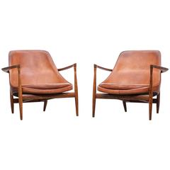 1950´s brown wooden and leather pair of Lounge Chairs by Ib Kofod-Larsen