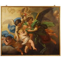 19th Century Italian Painting Depicting Little Angels