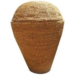 Large Basket Woven Straw 1950 Made in Italy, Bonacina