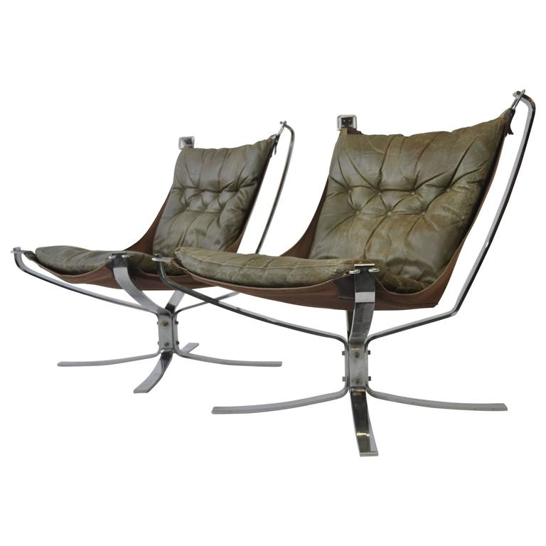 Pair of Sigurd Ressell Leather Falcon Chairs