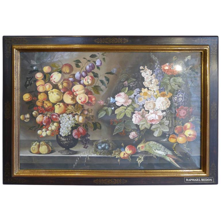 Watercolors Flowers, Fruits and Parakeets For Sale