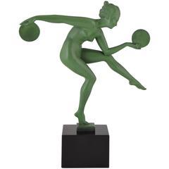 French Art Deco Nude Disc Dancer Derenne, Marcel Bouraine, 1930
