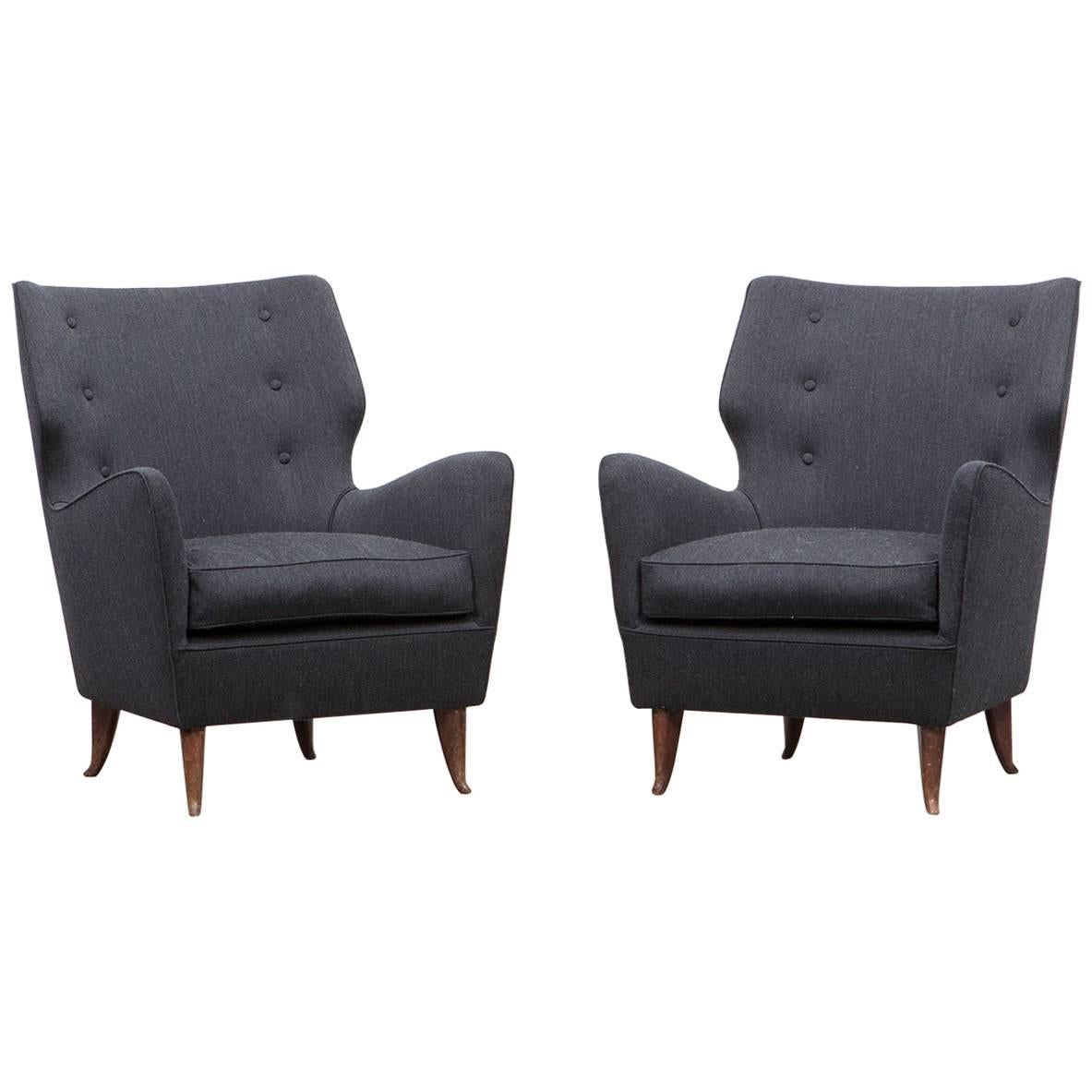 Pair of Gio Ponti Lounge Chairs 'B' 'New Upholstery'