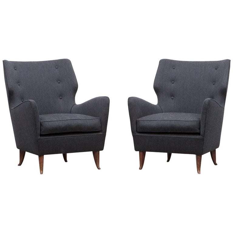 Pair of Gio Ponti Lounge Chairs 'B' 'New Upholstery' For Sale