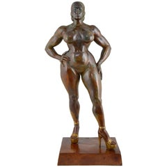 French Bronze Sculpture of a Nude by Christian Maas, Venus Hottentote