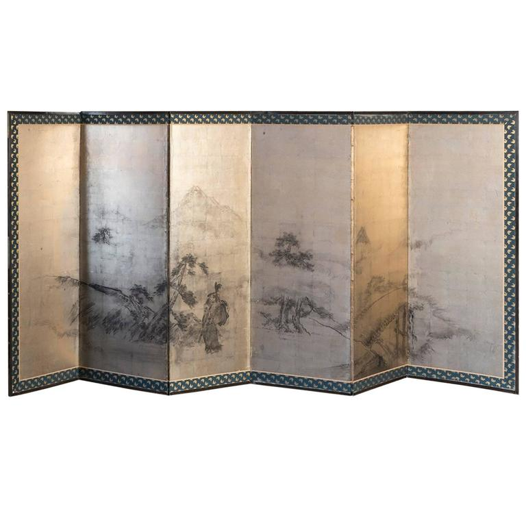 20th Century Japanese Six-Panels Gold Leaf Screen