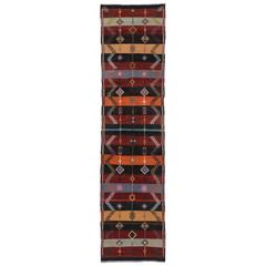 Vintage Turkish Kilim Runner with Modern Tribal Style, Flatweave Kilim Rug