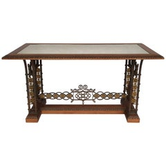 Oxidized Mirror Top Wrought Iron Table, circa 1950