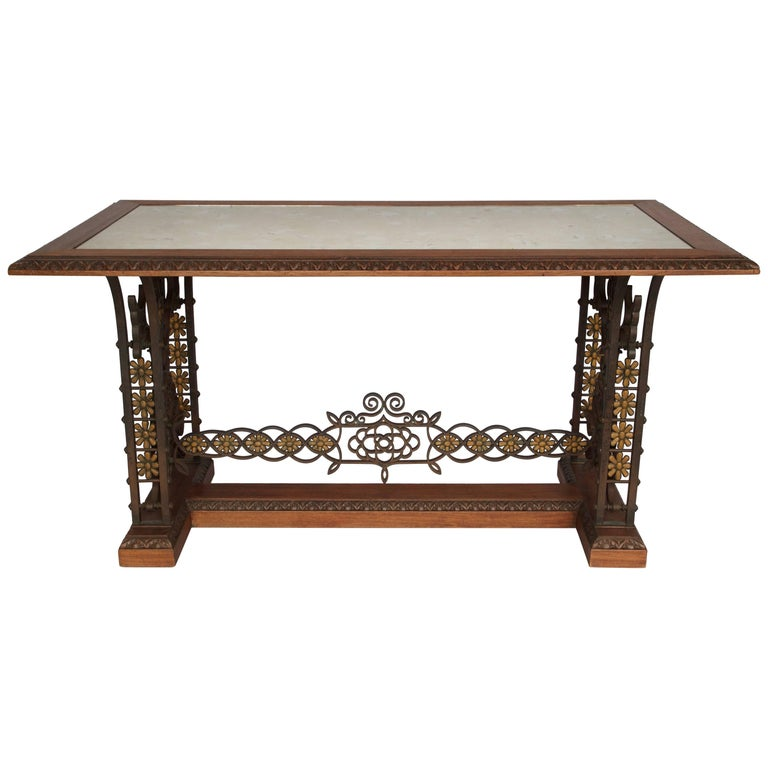 Oxidized Mirror Top Wrought Iron Table, circa 1950