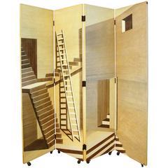 Four-Panel Scaletta Folding Screen Piero Fornasetti Italy Trompe L'Oeil Transfer