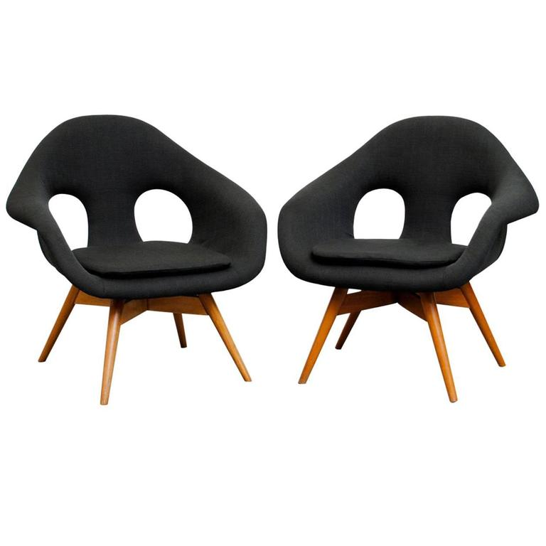 Pair of Bucket Lounge Chairs by Miroslav Navrátil for Vertex 1