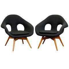 Pair of Bucket Lounge Chairs by Miroslav Navrátil for Vertex