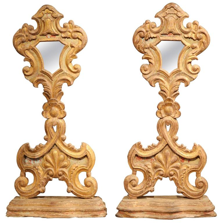 Pair of 19th Century Italian Carved Giltwood Church Reliquary Mirrors on Stand For Sale