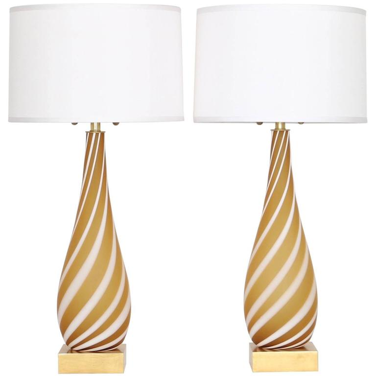 Pair of Murano Glass Lamps in Butterscotch and White