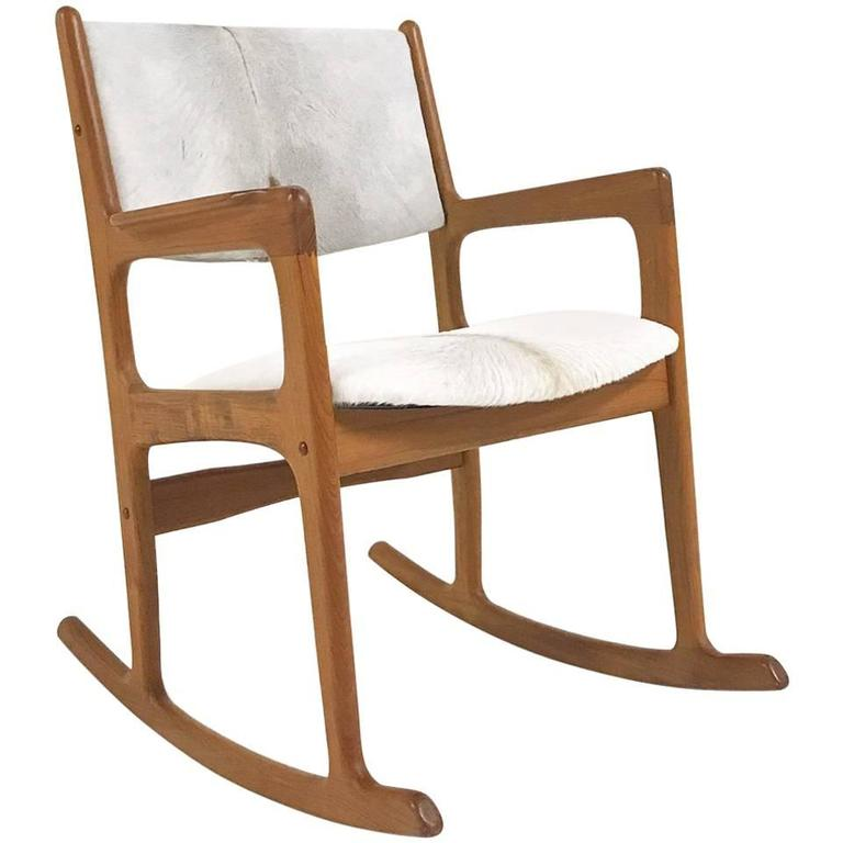 Mint Condition Danish Benny Linden Teak Rocking Chair in Brazilian Calfskin