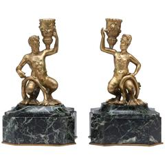 18th Century Pair of Satyr Candlesticks