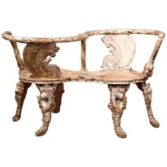 18th Century Italian Carved and Painted Grotto Confident Courting Chair