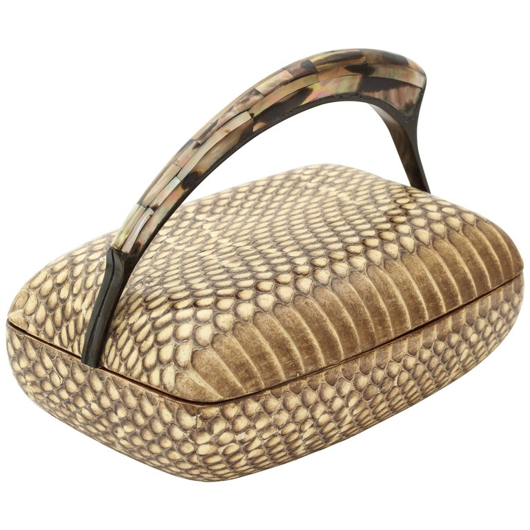 R & Y Augousti Snake Skin Covered  Box with Mother-of-pearl Handle For Sale