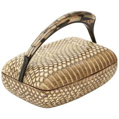 R & Y Augousti Snake Skin Covered  Box with Mother-of-pearl Handle