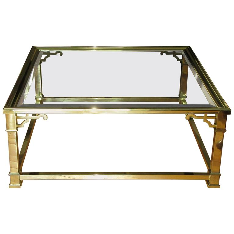 Vintage Mastercraft Polished Brass and Beveled Glass Coffee Table For Sale