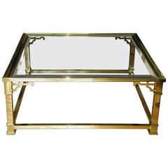 Vintage Mastercraft Polished Brass and Beveled Glass Coffee Table