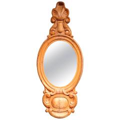 19th Century English Carved Pine Wall Mirror with Oval Glass and Shell Motif