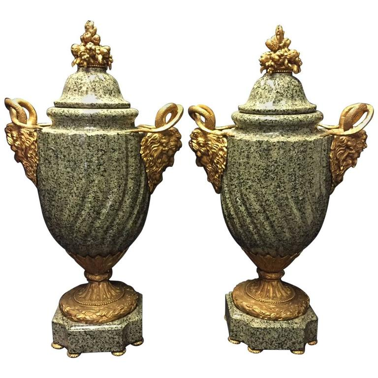 Pair of Italian Neoclassical Style Ormolu Mounted Marble Urns
