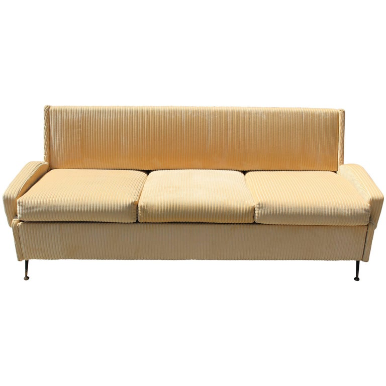 Italian Sofa with Burlap Bed Mechanism