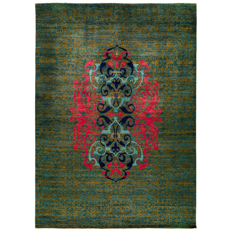 Green Suzani Area Rug For Sale