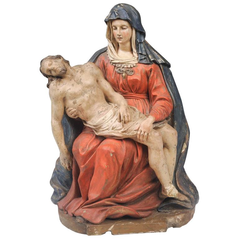 16th Century Pieta, of the Seated Virgin Holding the Body of the Dead Christ For Sale