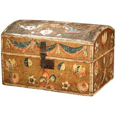 18th Century French Normandy Painted Decorative Box with Bird and Floral Motifs