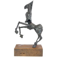 Steel Centaur Sculpture on Wood Base