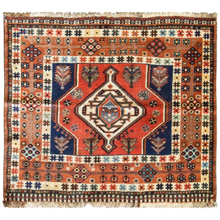 Breathtaking Large Geometric Red 10x12 Bakhtiari Persian: Unusual Qashqai Rug At 1stdibs