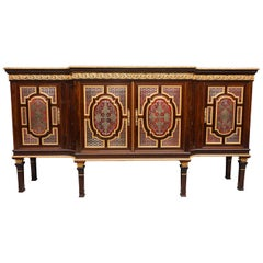 Exhibition Quality 19th Century Rosewood and Boulle Breakfront Side Cabinet