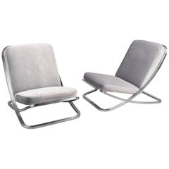 Pair of Low Nickel Slipper Chairs, France, 1970s