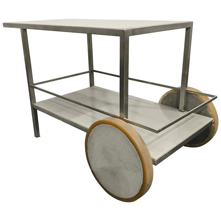 James de Wulf Concrete and Stainless Steel Bar Cart For Sale