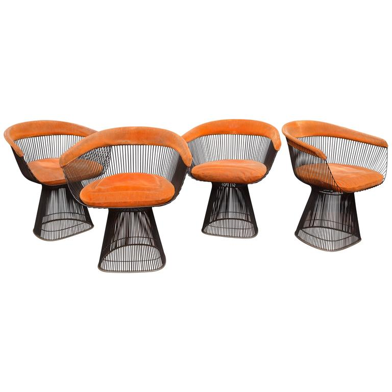 Warren Platner Bronze Dining Chairs for Knoll For Sale