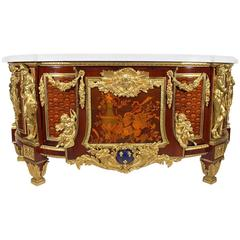 Fine French 19th Century Louis XVI Style Marquetry & Gilt-Bronze Mounted Commode