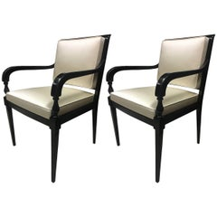 Andre Arbus Pair of Chic Neoclassic Black Lacquered Wood Chairs Covered in Silk