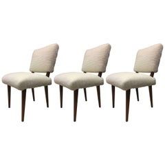 Jean Royere Ash Rare Set of Three Chairs Covered in Wool Faux Fur