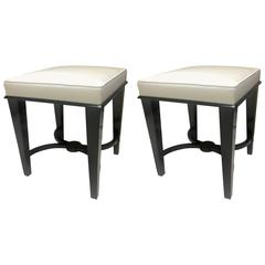 Andre Arbus Superb Pair of Neoclassic Stool Newly Covered in Silk Satin
